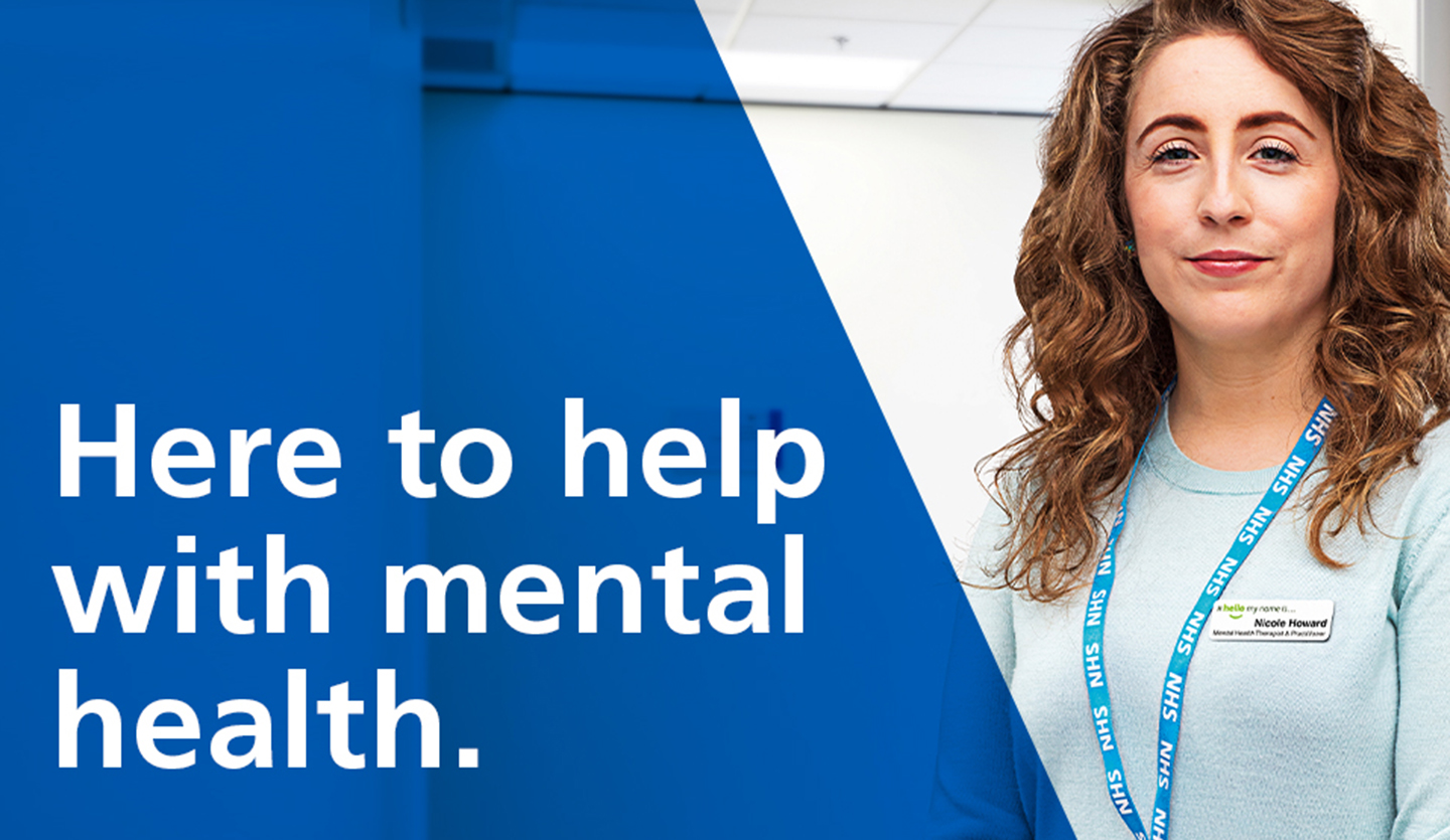 Here to help with mental health NHS image